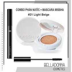 Combo Phấn nước kiềm dầu, che phủ tốt Magic Cushion Missha SPF 50Pa Chải Mi Mascara The Style 4D Missha 7g