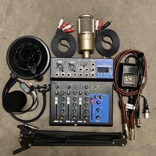 Combo hát thu âm karaoke mic pc k200-mixer f4 có màn hình kèm bluetooth bh 6 tháng