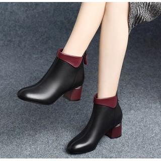 Giày Bốt Nữ Da PU Gót Vuông 5cm Mã H57 - H57 thumbnail