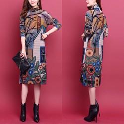 Đầm Len cổ lọ họa tiết Mới Hot Trend - Hàng Nhập Len Đẹp