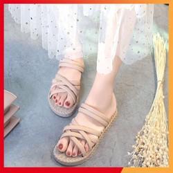 Giày sandal đế bệt vân cói đi được 2 kiểu