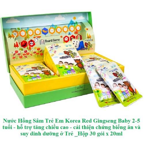 Nước hồng sâm trẻ em korea red gingseng baby 2-5 tuổi, hỗ trợ tăng chiều cao, cải thiện chứng biếng ăn và suy dinh dưỡng ở trẻ hộp 30 gói x 20ml - 20854018 , 23907968 , 15_23907968 , 1080000 , Nuoc-hong-sam-tre-em-korea-red-gingseng-baby-2-5-tuoi-ho-tro-tang-chieu-cao-cai-thien-chung-bieng-an-va-suy-dinh-duong-o-tre-hop-30-goi-x-20ml-15_23907968 , sendo.vn , Nước hồng sâm trẻ em korea red gings