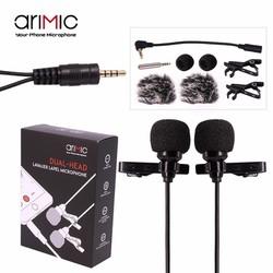 Mic thu âm gài áo AriMic Clip-on Dual Lavalier 6m cho điện thoại và máy ảnh