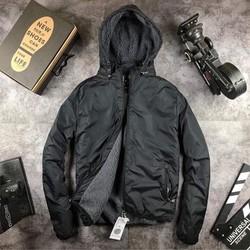 áo khoác phao nam lót lông -màu đen-áo khoác phao nam ,nữ