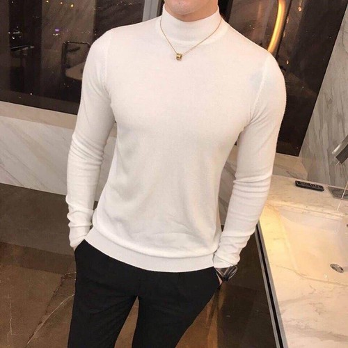 Áo len nam cổ cao -màu trắng-hàng vn cao cấp