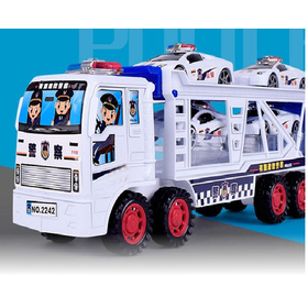 Đồ chơi ô tô container 2 tầng tặng kèm 4 ô tô cảnh sát - xe ô tô chở 4 xe cảnh sát
