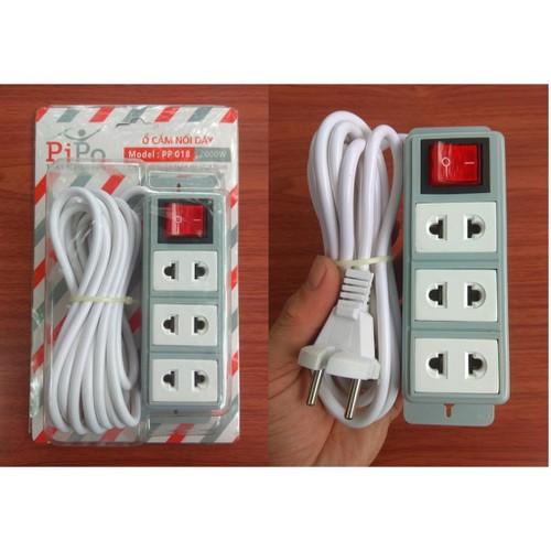 Ổ điện pipo pp018 loại xịn 1 công tắc, 3 lỗ - tải điện cao chính hãng