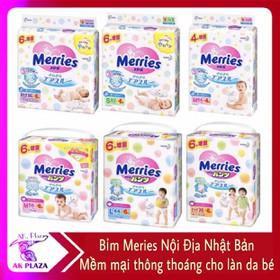 Tã Bỉm Quần Bỉm Dán Merries Nội Địa Nhật NB90_S82_M58_L44_XL38_XXL26 - Merries