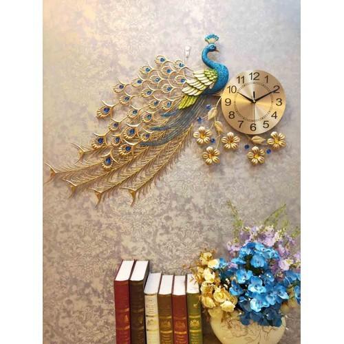 Đồng hồ treo tường trang  trí chim công đậu cành mai dh65 85x75cm - dh65