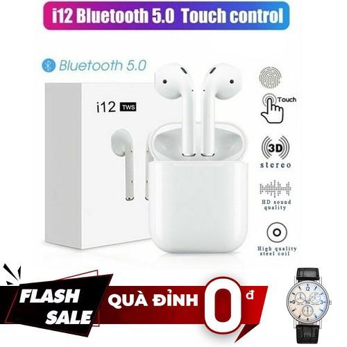 [ quà đỉnh 0đ ] tai nghe bluetooth i12 tws v5.0, cảm biến vân tay - tặng đồng hồ đeo tay