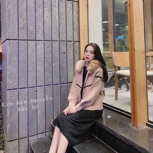 Áo ấm len cổ lông hồng đỗ nhập quảng châu siêu ấm siêu đẹp