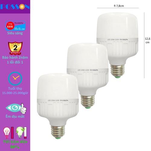 3 bóng đèn led trụ 20w siêu sáng tiết kiệm điện kín chống nước posson lc-h20-20g