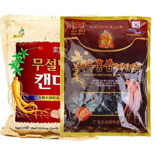 Combo kẹo hồng sâm không đường 500g và kẹo hắc sâm vitamin 300 chính h