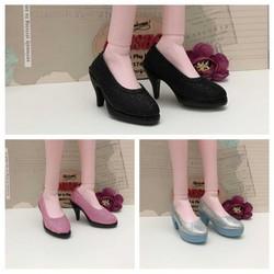 Giày búp bê cao gót nhũ màu đen cho dòng 60cm