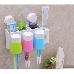 BỘ nhả kem đánh răng tự động kèm 3 cốc đựng - Nhả kem 3 cốc treo tường
