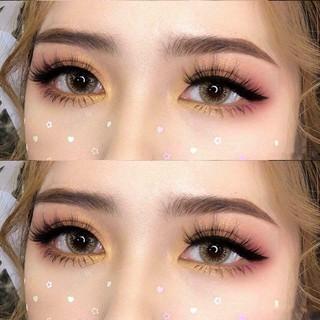 Lens mắt kính áp tròng Nâu Brown, không độ, Tặng khay đựng sử dụng 1 năm không cộm mắt l10 - l10 thumbnail
