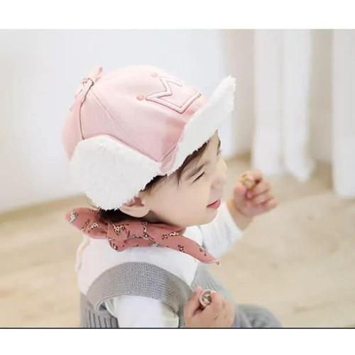Mũ lưỡi trai lót lông cừu hình vương niệm mũ lót lông bé từ 3 đến 30 tháng