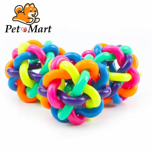 Đồ chơi bóng nhựa dẻo 7 màu có lục lạc cho chó mèo-a03