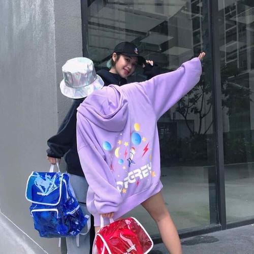 Áo hoodie nữ cá tính hình hành tinh nỉ ngoại