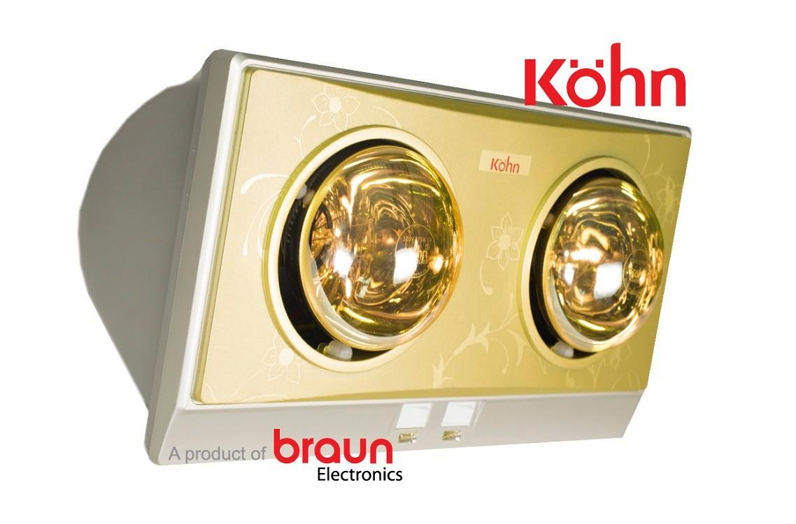 Đèn sưởi nhà tắm 2 bóng kohn kn02g 550w. hàng chính hãng