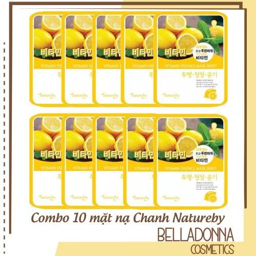 Combo 10 mặt nạ dưỡng trắng da từ chanh natureby vitamin essence mask sheet 10 x 23g