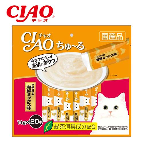 Thức ăn cho mèo ciao churu thịt gà và hải sản 20 thanh sc-128