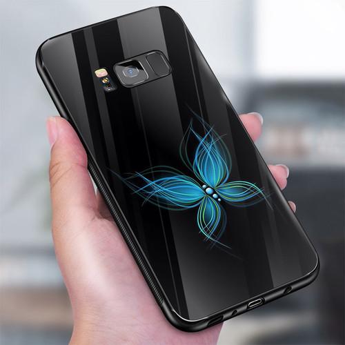 Ốp điện thoại kính cường lực cho máy samsung galaxy s8 plus - blue butterfly  ms abeth001