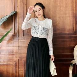 Chân váy  dài xếp li thời trang Kèm đai chất đẹp