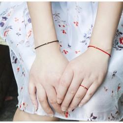Vòng dây chỉ đỏ phối bi bạc 3mm nữ tính thời trang - Ngọc Quý Gemstones