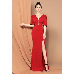 Đầm dạ hội xẻ tà cổ V