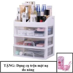 Kệ mỹ phẩm 4 tầng có ngăn kéo Tashuan Việt Nam tặng bộ dụng cụ trộn