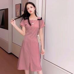 Đầm hồng ruốc cổ viền đen mặc 2 kiểu
