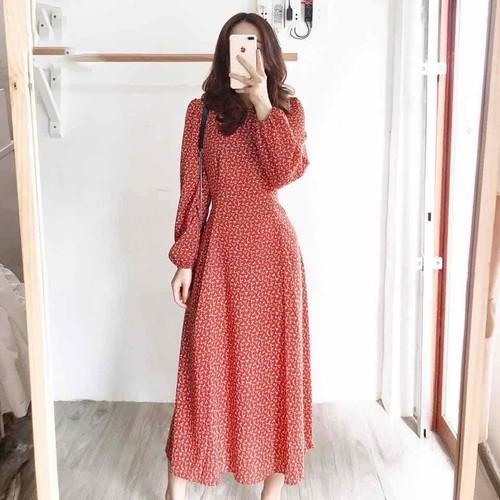 Đầm đỏ midi hoa nhí