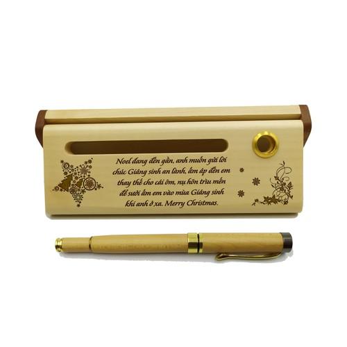 Bút gỗ bi nước cao cấp làm quà tặng noel & năm mới - mẫu 03