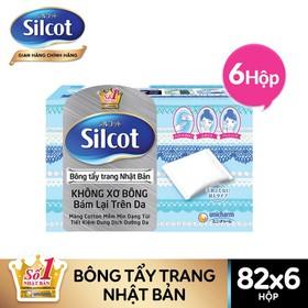 Combo 6 Hộp bông tẩy trang Silcot, hộp 82 miếng - TUSC00011CB