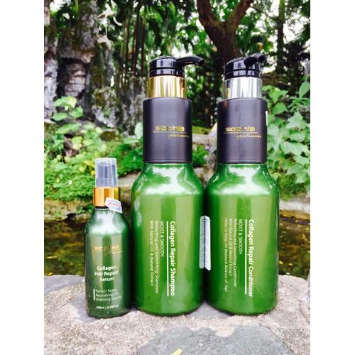 Combo dành cho tóc khô xơ, hư tổn gồm dầu gội, xả và tinh dầu sophia platium 500ml