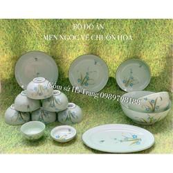 bộ bát đĩa bộ đồ ăn gốm sứ Bát Tràng cao cấp men ngọc vẽ chuồn hoa