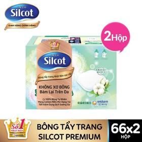 Bộ 2 hộp Bông tẩy trang cao cấp Silcot Premium hộp 66 miếng - TUSC00021CB