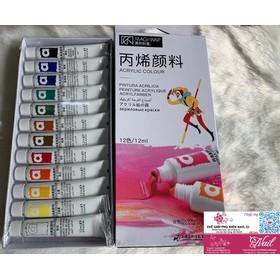 Sét Bột Vẽ Cọ Bản MAGI-WAp Acrylic Color 12 Màu Chuẩn Đẹp - BotVeMagi