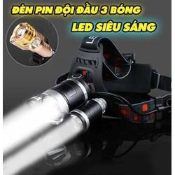 [HỖ TRỢ SHIP 40K] Đèn pin đội đầu 3 bóng T6 siêu sáng