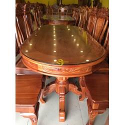 Bộ bàn ăn căm xe 8 ghế hoa lá tây chạm hoa hồng bàn ovan