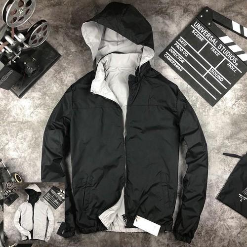 Áo khoác gió nam 2 mặt -màu đen-form dáng đẹp,hàng vn cao cấp