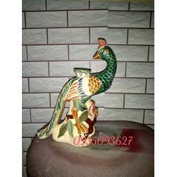 Tượng gốm sứ  chim công cao 30 cm