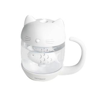 Máy Phun Sương,Tạo Ẩm Con Mèo thích Con Cá Kết nối cổng USB , kết nối Đèn và Quạt 3 in 1, Dùng làm đèn ngủ - cat love fish thumbnail