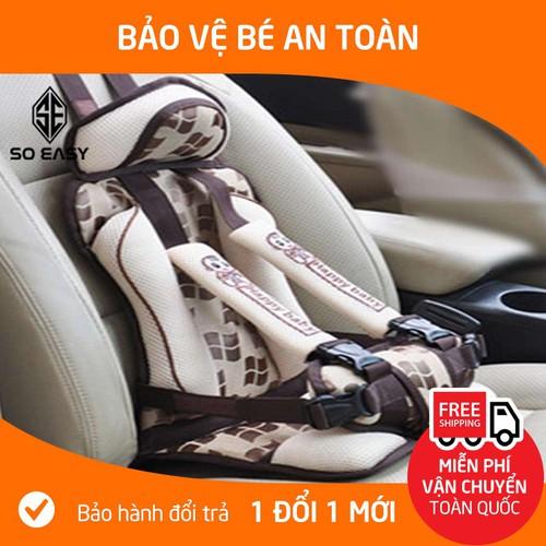 Ghế ngồi phụ dày đa năng trên xe hơi ô tô bảo vệ an toàn cho bé từ 9 tháng 7 tuổi dưới 25kg dlb02 kem hoa văn