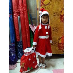 Set váy Noel giáng sinh kèm mũ và dây lưng cho bé gái 12-15kg size 3-5