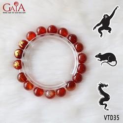Vòng tay phong thủy - đá mã não đỏ khắc tam hợp tuổi Thân - Tý - Thìn
