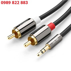 Dây AV 3.5 ra 2 đầu RCA Ugreen 2M 10584 -Cáp kết nối điện thoại, thiết bị nghe nhạc IPod, MP3 player, máy tính bảng hoặc máy tính đến hệ thống phát âm thanh hỗ trợ cổng hoa sen RCA