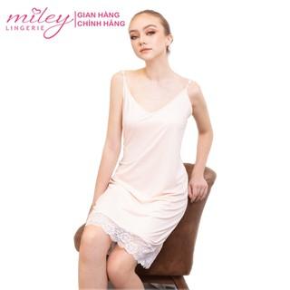 Đầm Ngủ Nữ Hai Dây Thun Lạnh Phối Ren Sexy & Comport Miley Lingerie - DMS1101 thumbnail