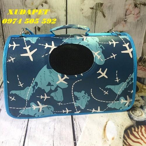 Túi xách vận chuyển chó mèo màu xanh họa tiết máy bay ngộ nghĩnh – xudapet – txmb01